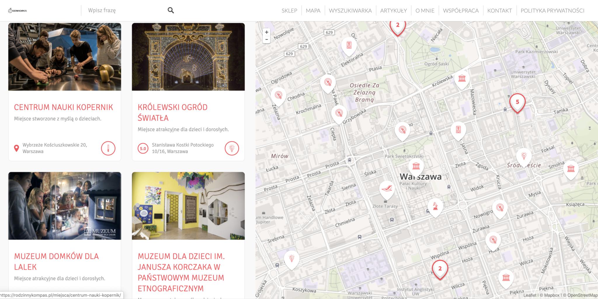 Atrakcje dla dzieci w Polsce - zobacz miejsca przyjazne dzieciom na mapie Rodzinny Kompas 5